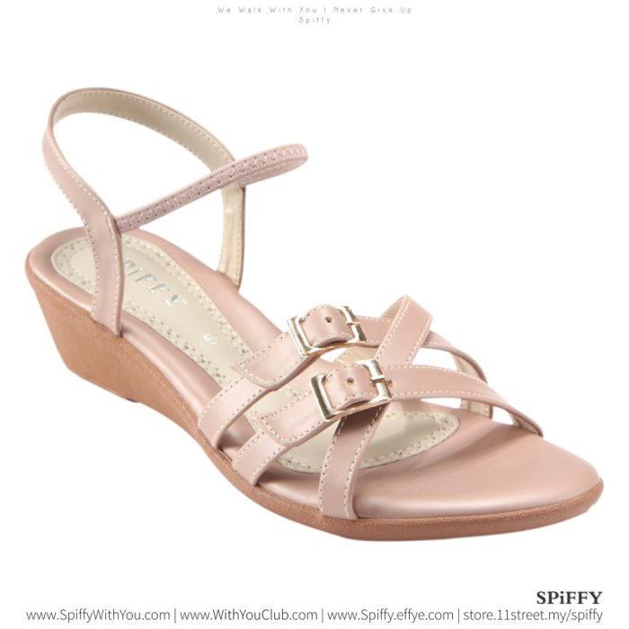 Fashion Modern Malaysia Heels Sandal Shoes 时尚凉鞋 Spiffy Brand YYM1774027 Pink Colour Shoe Ladies Lady Leather High Heels Wedges Shoes Online Shopping 11Street Lazada 04