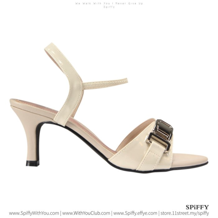 Fashion Modern Malaysia High Heels Shoes 时尚高跟鞋 Spiffy Brand YYM1767014 Beige Colour Shoe Ladies Lady Leather High Heels Wedges Shoes Online Shopping 11Street Lazada 01