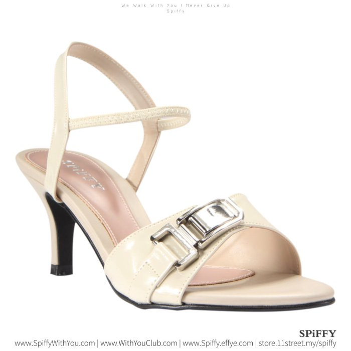 Fashion Modern Malaysia High Heels Shoes 时尚高跟鞋 Spiffy Brand YYM1767014 Beige Colour Shoe Ladies Lady Leather High Heels Wedges Shoes Online Shopping 11Street Lazada 02