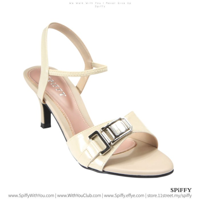 Fashion Modern Malaysia High Heels Shoes 时尚高跟鞋 Spiffy Brand YYM1767014 Beige Colour Shoe Ladies Lady Leather High Heels Wedges Shoes Online Shopping 11Street Lazada 03