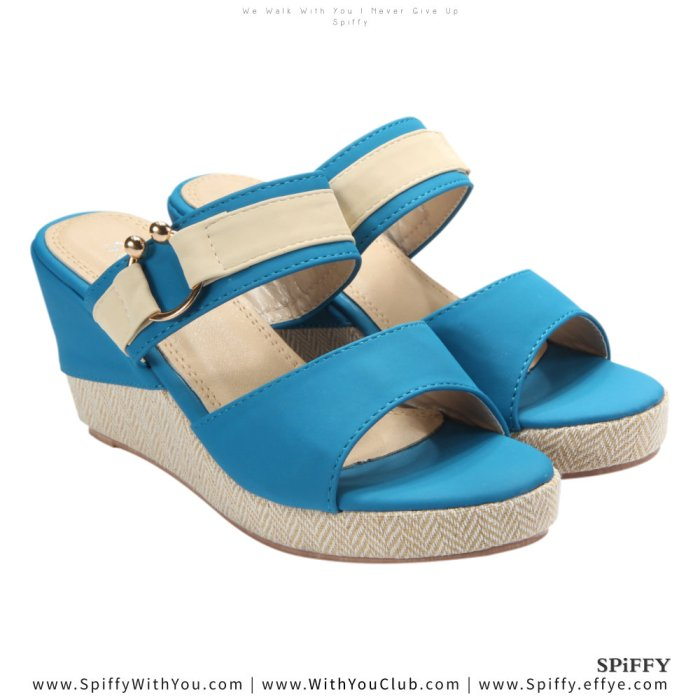 Fashion Modern Malaysia Wedges Shoes 舒适松糕鞋 Spiffy Brand CT3519003 Blue Colour Shoe Ladies Lady Leather High Heels Wedges Shoes Online Shopping 11Street Lazada 04